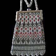 Fine Deco Enamel Mesh Bag Purse by Mandalian Black, Rust, White