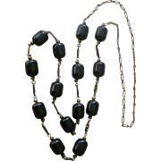 Stylish Deco Vintage Black Galalith Plastic Beads Long Necklace