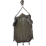 German Silver Mesh Chatelaine Hook Purse Bag Early 1900s