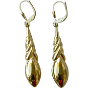 Vintage Long Dangle Earrings for Pierced Ears 18K Bright Yellow Gold