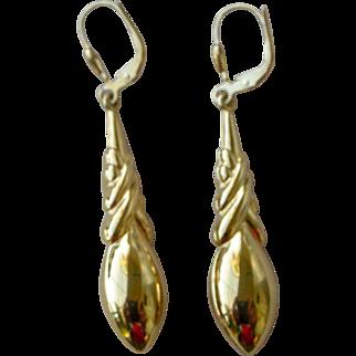 Vintage Long Dangle Earrings for Pierced Ears 18K Bright Yellow Gold