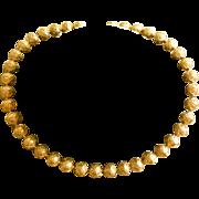 Elegant Vintage Gold Gilt Etruscan Bead Choker Necklace