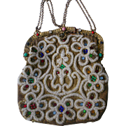 Gorgeous Vintage Purse Faux Pearls and Gems on Woven Gold Fabric Early 1900s
