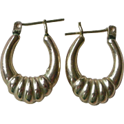 LAST CHANCE 1/31/18 Classic Oval Hoop Earrings, 10K Yellow, Gold Fluted Bottom PRICE REDUCED!
