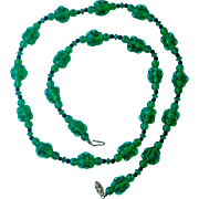 Vintage Necklace Green Molded Glass Beads Very Chic and Unique