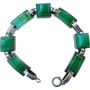 Superb Deco Bracelet Green Guilloche Enamel and Chrysophrase in Sterling Silver Links