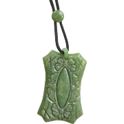 Deco Green Celluloid Large Pendent Necklace with Slide and Woven Chain
