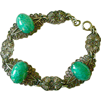 Art Deco Bracelet Lacy Filigree Links with Green Marble Faux Jade Cabochons