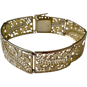 Exquisite Lacy Design Vintage Bracelet Gold Wash on Sterling Silver Made in Germany