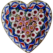 Mid Century 1950s Mosaic Heart Shaped Pin Red, White, Blue