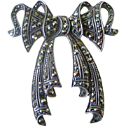 Vintage Marcasite  Encrusted Silver Bow Stylized Pin (also Pendent)