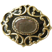 Victorian Memorial Hair Pin Black Enamel and Gold Filled Oval