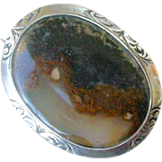 Victorian Era Scottish Pin/Brooch Moss Agate set in Silver Oval