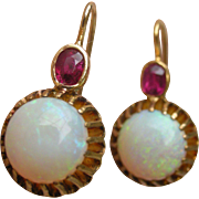 Fine Old Opals and Cherry Red Ruby Dangle Earrings set in 18K Yellow Gold Custom Made