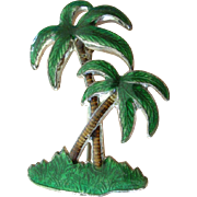 Vintage Enamel Tropical Deco Palm Tree Pin