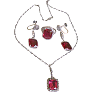 Exceptional Deco Period Set 10K White Gold Filigree and Faux Ruby Pendent Necklace, Ring, Dangle Earrings