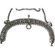 Early 1900s 800 Silver Purse Handbag Frame Makers Mark Flower Motif