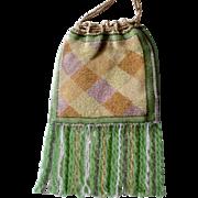 Exquisite Petite Beaded Bag Purse Plaid Design Tiny Beads, Long Twist Fringe, Reticule