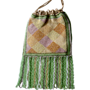 Exquisite Petite Beaded Bag Purse Plaid Design Tiny Beads, Long Twist Fringe, Reticule
