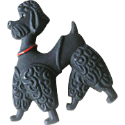 Delightful Plastic Black Poodle Pin Never Used Store Stock on Original Display Card