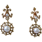 Exquisite Vintage Dangle Earrings 14K Yellow Gold Filigree with Cultured Pearls