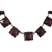 Deco Faux Amethyst Necklace Beautifully Cut Square Crystals, Open Back Lovely Purple Shade