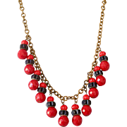 Superb Art Deco Czech Necklace with Red and Blue Bead Dangles