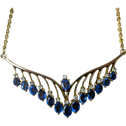 Superb Vintage Necklace Cornflower Blue Sapphires, Diamonds, 14K YG