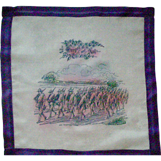 RARE World War I Silk Handkerchief Hanky with Uniformed Soldiers