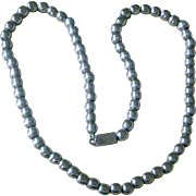 Classic Mid Century Sterling Silver 24 Inch Bead Necklace Made in Mexico