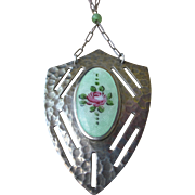 PRICE REDUCED Vintage Deco Necklace Sterling Silver and Guilloche Enamel Shield Shape Pendent