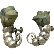 William Spratling Mexico Earrings Sterling Silver with Agate Flower