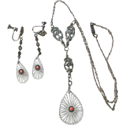 Art Deco Etched Glass, Sterling Silver and Coral Drop Pendent Necklace and Earrings Set