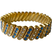 Chic Vintage Stretch Bracelet Mid-Century Gold Tone with Blue & Clear Crystals
