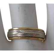 Vintage Eternity Band Ring 14K White Gold and Yellow Gold 1940s
