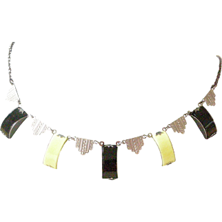 Dynamite Deco Necklace Yellow and Black Plastic Oblong Drops with Pressed Silver Design Links