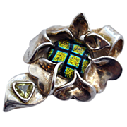 Focal Centerpiece Pendant - Dichroic Glass & Fine Silver Flower