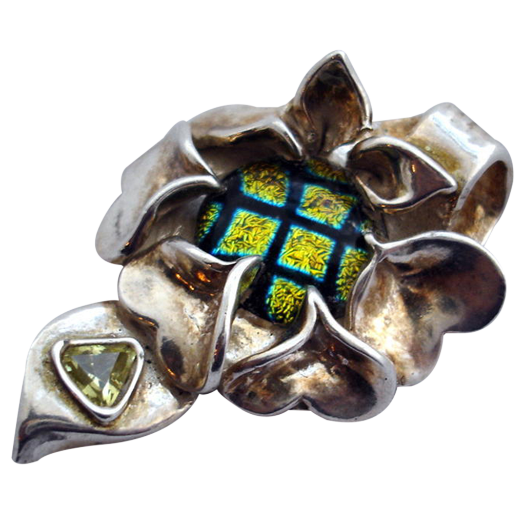 Focal Centerpiece Pendant - Dichroic Glass & Fine Silver Flower