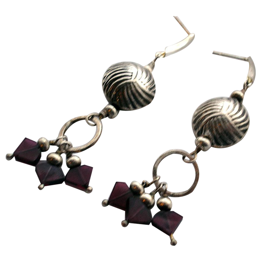 Sterling Silver Bead and Garnet Earrings