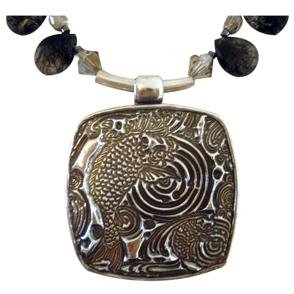 Swimming Japanese Carp - Pendant Necklace - Black Reticulated Quartz Briolettes