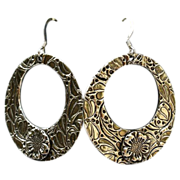Handcrafted Fine Silver Hoop Dangle Earrings