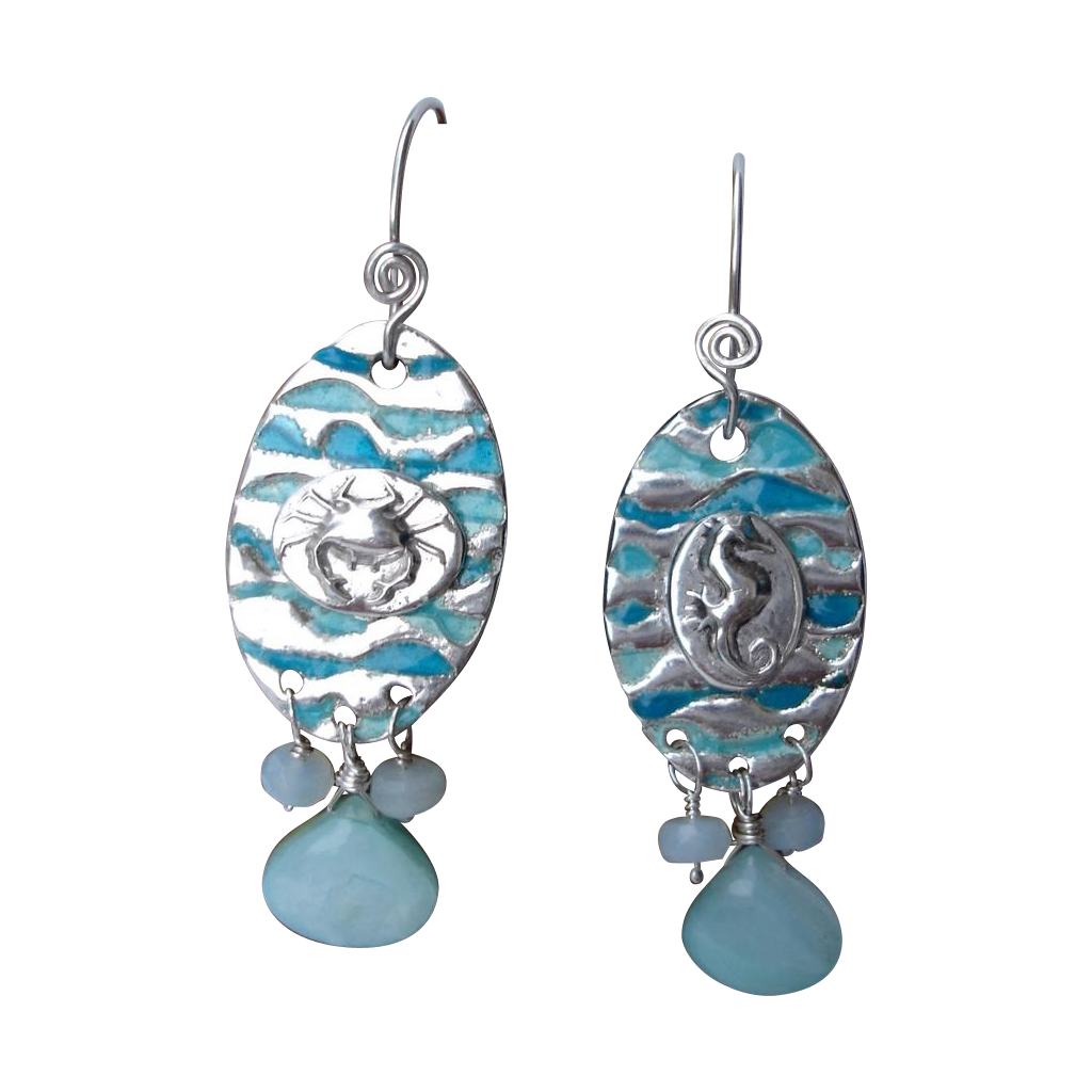 Enameled By the Seashore Fine Silver Earrings - Peruvian Opals -  Handcrafted