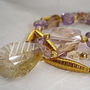 Golden Needles Rutilated Quartz, Ametrine, Amethyst & 24kt Gold Vermeil Necklace