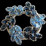 Vintage Blue Rhinestone Round Brooch