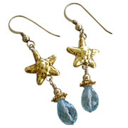 Aquamarine Gemstone & Starfish Earrings 22kt Gold Vermeil