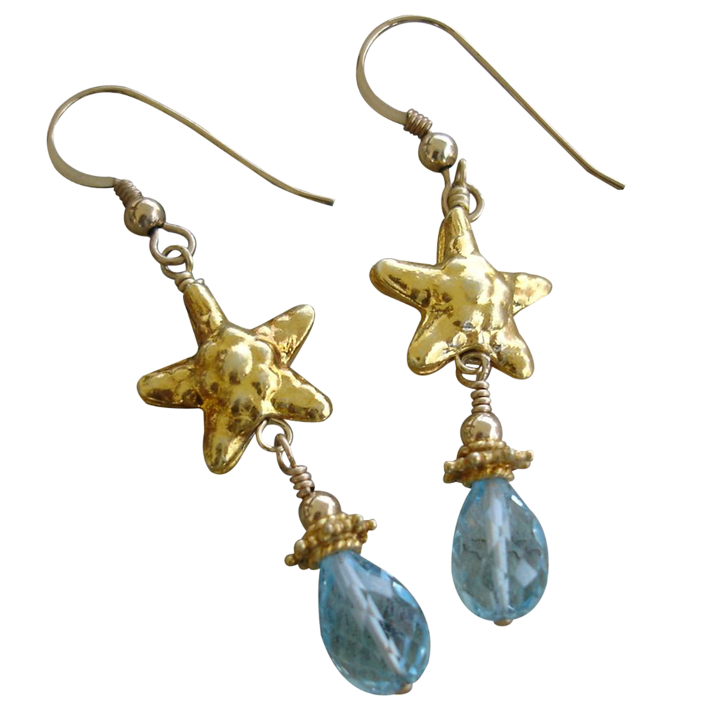 aquamarine gemstone starfish earrings 22kt gold vermeil