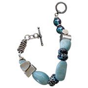 Aquamarine & Chrysophase, Boro Glass, SS Beaded Bracelet