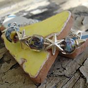 Sterling Silver, Lampwork Beads, Stars Wrap Bracelet