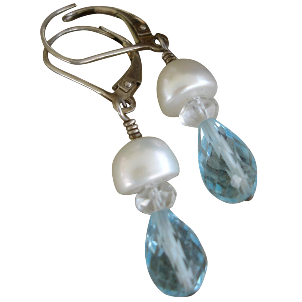 Aquamarine and Cultured Pearl Sterling Silver Earrings