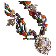 Gemstone Beaded Necklace with Fine Silver Pendant & Charms